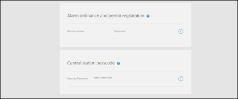 XFINITY Home Subscriber Portal screen has fields for alarm permit number, expiration date, and central station passcode