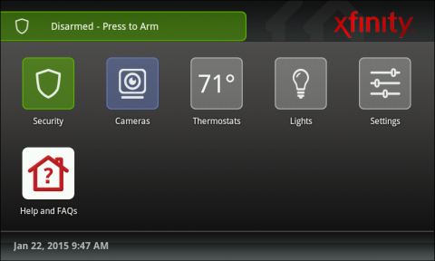 XFINITY Home TouchScreen displays security status at top. The Security button is in the top-left corner (the first button in the list).