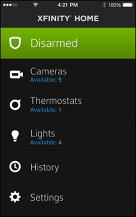 XFINITY Home mobile app displays Disarmed status in green at top.