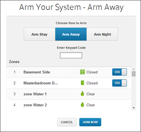 The Arm Your System screen offers different arming options and a field for entering your code. Arm Now button at lower right.