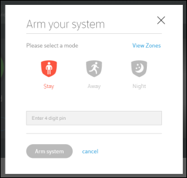 Arm Your System window offers Stay, Away and Night modes, field for PIN, Arm System button and cancel link.