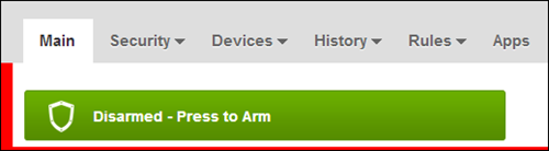 "The Main tab of the XFINITY Home user portal displaying a ""Disarmed - Press to Arm"" status."