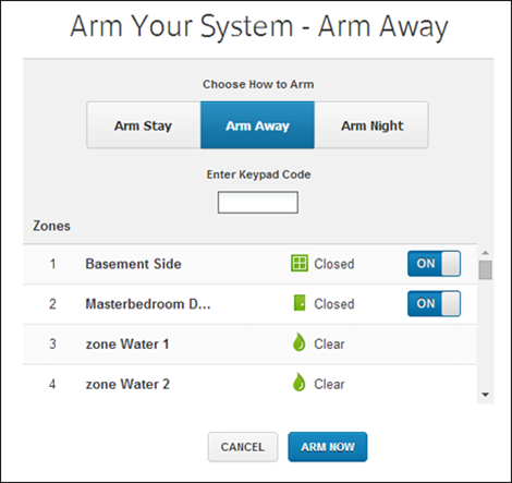 The Arm Your System screen showing a status of Arm Away. Under Choose How to Arm, the options are Arm Stay, Arm Away and Arm Night. There is a field to enter a Keypad Code and a list of Zones.