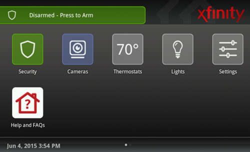 XFINITY Home Touch Screen main page.  The Security icon is has a picture of a shield on it.