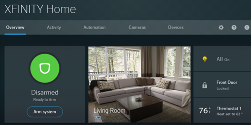XFINITY Home Web Portal Overview screen