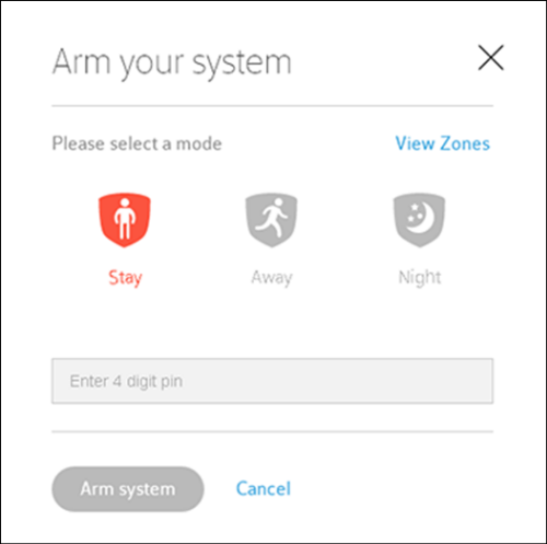 XFINITY Home Arm Your System Window Stay mode.