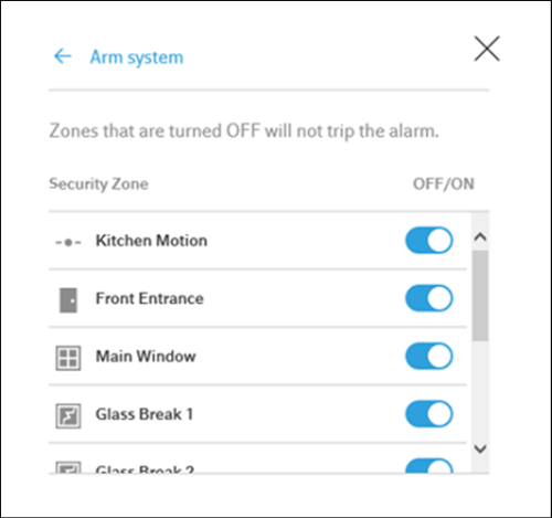 XFINITY Home Web Portal View Zones window screen