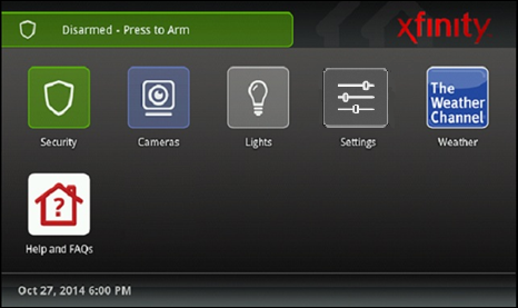 Xfinity Home Touch Screen with options to manage security, cameras, lights, settings, and view weather or help and FAQs.
