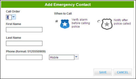 Add emergency contact screen - name and phone number fields, radio buttons for when to call