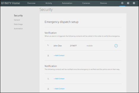 Subscriber Portal Preview Version - Security screen shows fields for Emergency dispatch setup