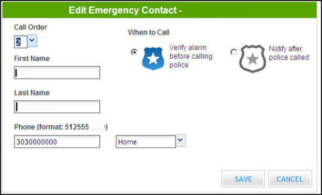 Edit emergency contact screen - name and phone number fields