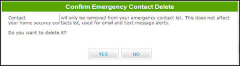 Confirm emergency contact delete screen with Yes and No buttons at bottom.