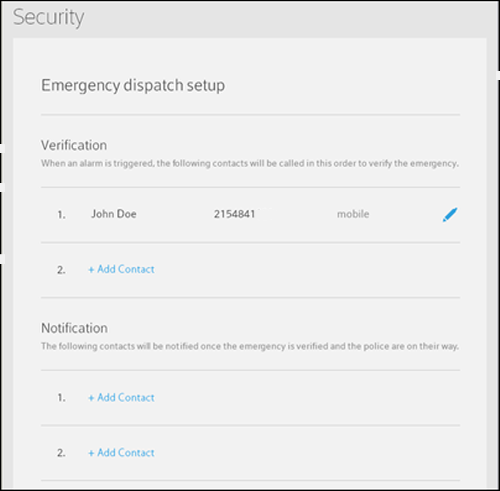 Emegency Dispatch setup verification and notification screen.