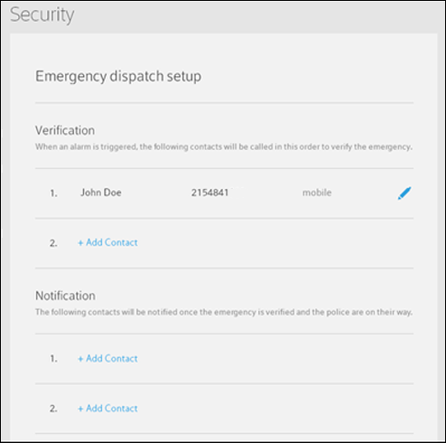Emergency Dispatch setup verification and notification screen.
