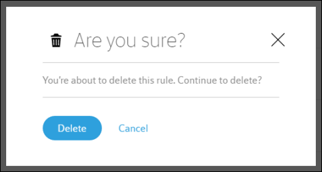 Message asks user to confirm deletion of rule.