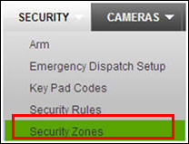 Security tab of the XFINITY Home Subscriber Portal with Security Zones selected.