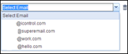 The drop-down menu lists the email addresses associated with the account.