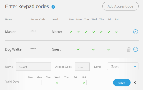 Enter keypad codes screen displays fields for entering access codes, Save button at bottom right.
