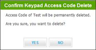 Subscriber Portal - Message asks user to confirm code deletion.