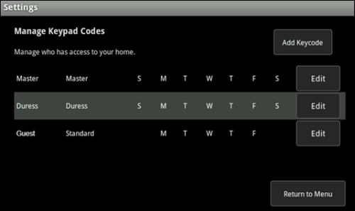 Manage Keypad Codes page