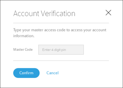Account verification page with master code box to enter code and options to confirm or cancel.