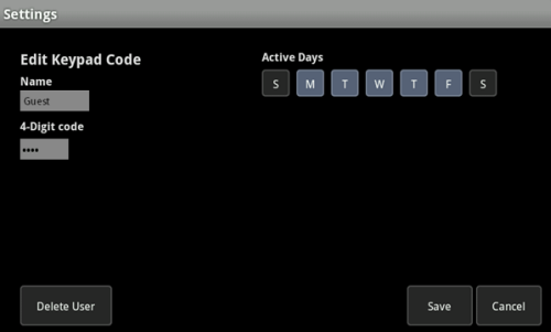 Edit Keypad Code page
