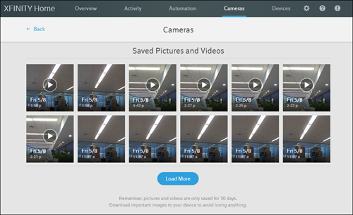 XFINITY Home Subscriber Portal Preview version: Cameras menu.