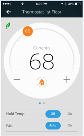 Thermostat Details screen with orange set temp marker at top, EcoSaver leaf at top left, Hold Temp and Fan options at bottom.