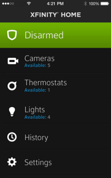 Listed under Xfinity Home in order are: Disarmed, Cameras, Thermostats, Lights, History and Settings
