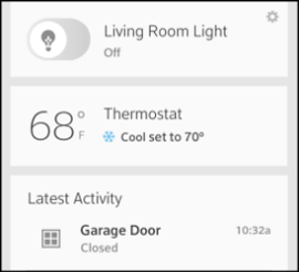 Overview screen displays Thermostat tile among other options.