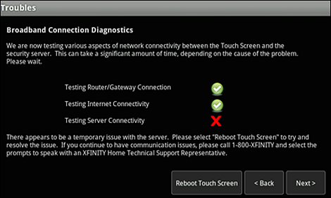 "The Troubles screen; The checkmark or rex X will be to the right of ""Testing Server Connectivity"" and ""Reboot Touch Screen"" is at the bottom of the screen"