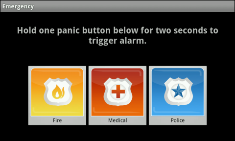 "The Emergency Button screen displays a message: ""Hold one panic button below for two seconds to trigger the alarm."" Below it are three panic buttons: Fire, Medical and Police (left to right)."