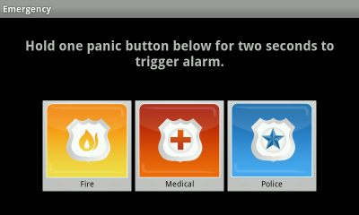 The Emergency button screen has a row with the Fire, Medical and Police Buttons