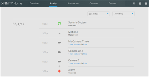 The XFINITY Home Subscriber Portal - preview version - Activity screen.