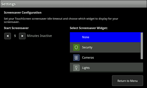Settings screen with Screensaver Configuration.