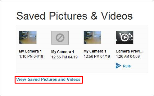 View Saved Pictures and videos is selected on the home page