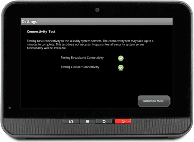 "TouchScreen Settings screen. Green checkboxes next to ""Testing Broadband Connectivity"" and ""Testing Cellular Connectivity"""