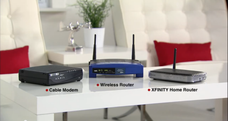 A cable modem, wireless router and XFINITY Home Router device