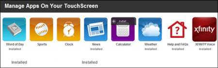 Apps are displayed beneath the manage apps on your touchscreen heading