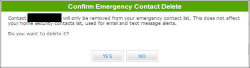 Confirm emergency contact delete screen