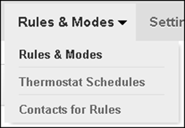 XFINITY Home Web Portal - Rules & Modes Menu.