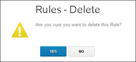 "XFINITY Home Web Portal - Rules Delete pop-up asks user ""Are you sure you want to delete this Rule?"" Yes and No buttons at bottom."