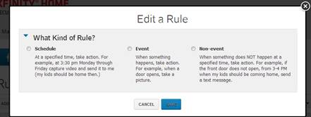 XFINITY Home Subscriber Portal - Rules & Modes - Edit a Rule menu