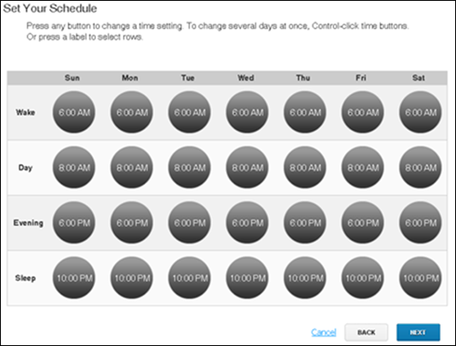 XFINITY Home Web Portal - Set Your Schedule screen