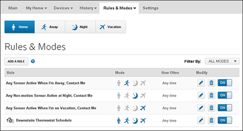 XFINITY Home Web Portal - Rules & Modes screen