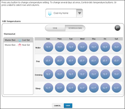 XFINITY Home Web Portal - Edit Temperatures screen