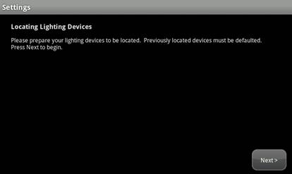 "XFINITY Home Touch Screen, Settings screen reading ""Locating Lighting Devices."""