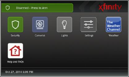XFINITY Home TouchScreen, Main Menu