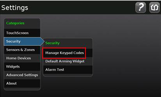 Security and manage keypad codes options are selected.