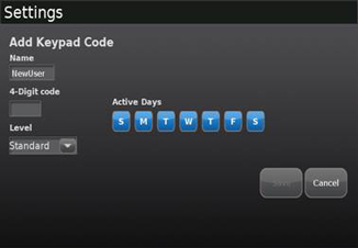 Add Keypad Code screen with entry fields and buttons for days.